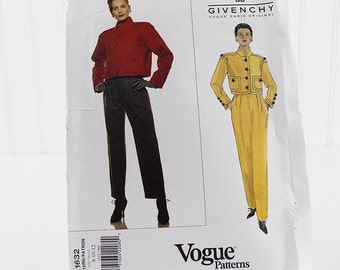 Vogue Short Jacket and Pants Pattern, Givenchy,  UNCUT Sewing Pattern, V1632, Size 8-12