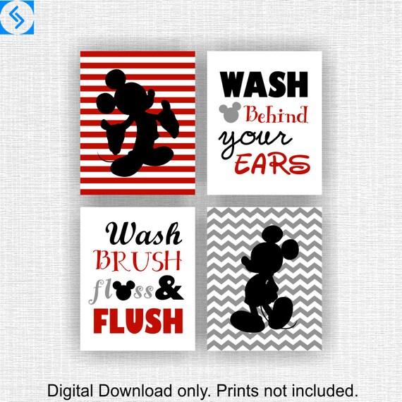 Instant Download Disney Bathroom Set Of 4 8x10 Red Gray