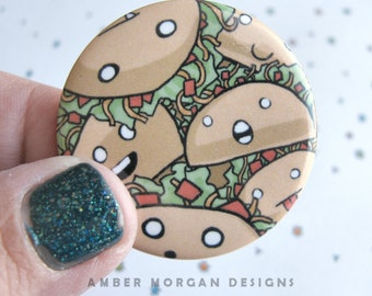 Crazy Tacos Button, Cute Food Pin, Taco Pinback, Cute Taco, Cute Food Accessory, Funny Button, Crazy Tacos, Taco Pin, Wearable Art, Kawaii