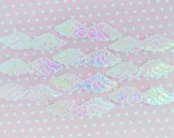 60mm Iridescent White Angel Wings Kawaii Applique - 10 piece set