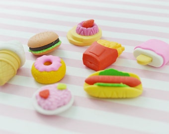 Kawaii Mixed Foods Erasers - set of 4