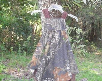Camo & Lace handkerchief dress.  MossyOak cotton shown in photo. #2 in fabric selection.  22 camo colors available