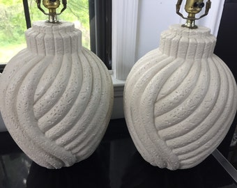 Beachy mid century modern heavy abstract lamps neutral off white