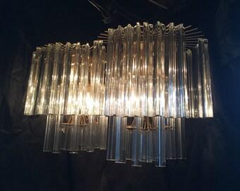 Vintage Large Unique Mid century Venini Italian twin MURANO Glass Chandelier 140 prisms