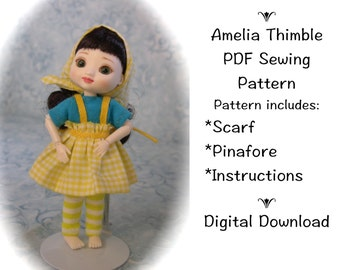 PDF Pinafore and Scarf Sewing Pattern for mini BJD Amelia Thimble