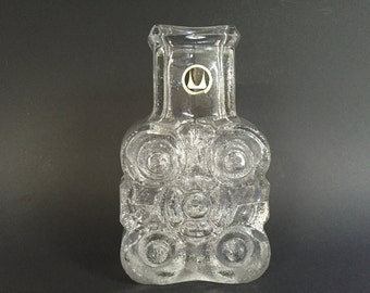 "Walther Glas ,,On the Rocks"" Vase ,designer : Lars Hellsten 1972 .The original one. !! Clear relief  glass,  Bad Driburg- West Germany."