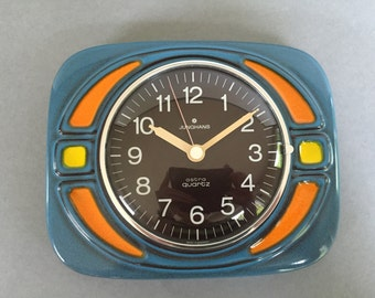 Junghans - West Germany Quality Mid Century Modern stunning Ceramic Vintage Wallclock  In amazing colours..