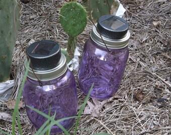 solar mason jar, SALE , hanging solar mason jar,Wire hanger, Gunmetal Grey, garden light, pathway light, walkway luminaries