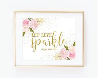 Printable Wedding Sign, Let Love Sparkle Sign, Floral Wedding, Sparkler Wedding Sign, Sparkler Send Off, Printable Wedding Signage #CL111
