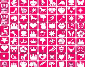 Refill Glitter Tattoo Stencils Only Kit 19 - 97 Stencils Girls Princess My Little Pony Flowers Hearts Butterfly's Crowns