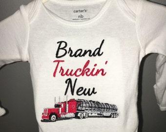 Brand Truckin' New - Embroidered Baby Bodysuit One Piece - 18 Wheeler Semi Truck