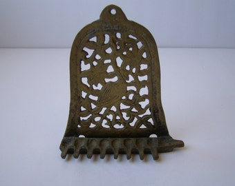 Antique Brass Hanukkah Lamp Menorah, North Africa Style