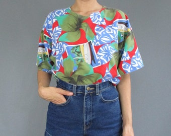 Vintage Tropical Printed Small Medium Blouse - Small Medium 1990s Tropical Print