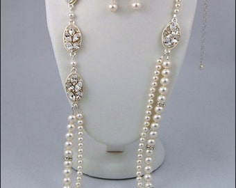 Pearl Necklace, Pearl Bridal Necklace, Pearl Wedding Necklace, Pearl Jewellery, Swarovski Rhinestone Jewellery, Swarovski Necklace Set