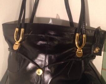 Vintage Lou Taylor Black & Gold Handbag