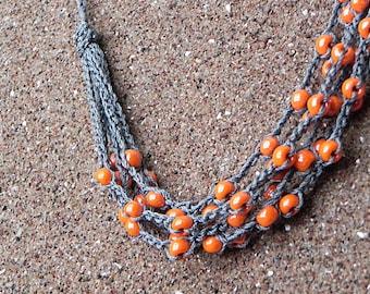 Crochet Necklace Grey Orange Necklace Crochet Beaded Necklace Boho Necklace Multi Strand Necklace Rustic Jewelry Glass Beads Crochet Cotton