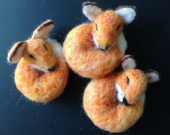 Handmade needle felting sleeping fox magnet