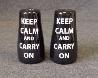 Vintage 'Keep Calm and Carry On' Salt & Pepper Shaker Set, Ceramic