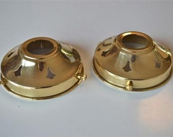 A pair of classic antique style brass 3 1/4 inch glass light shade galleries NR3