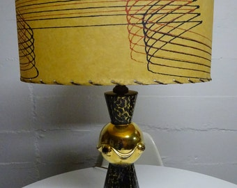 1950's Atomic Age Space Age Mid Century Retro Atomic Lamp - Black and Gold Ceramic with Red & Black Fiberglass Shade  FREE SHIPPING