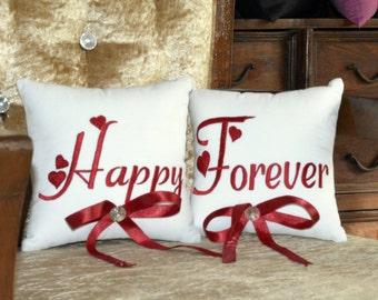 Ring Bearer Pillow 30% OFF Mr & Mrs. Happy Forever Wedding Ring Pillow Set Embroidered Custom Personalize Ring Bearer Pillow