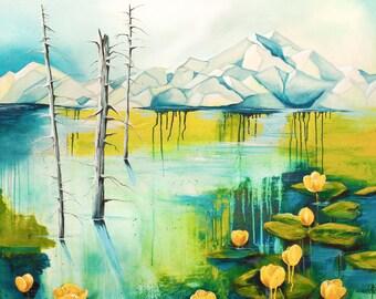 Wall art print lillies lily pad painting watercolor painting acrylic painting mounain scene alaska art print water lillies 24x36 11x14