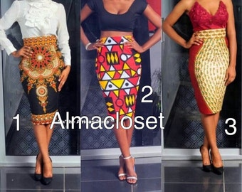 pencil skirt in African fabric