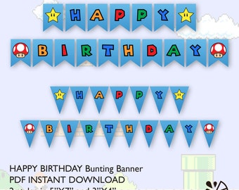 Super Mario Brother Birthday Party Bunting Banner Printable INSTANT DOWNLOAD