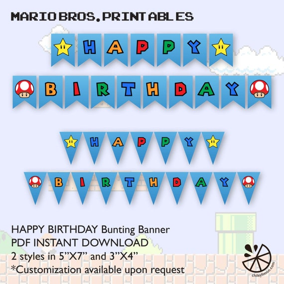 Super Mario Brother Birthday Party Bunting Banner Printable