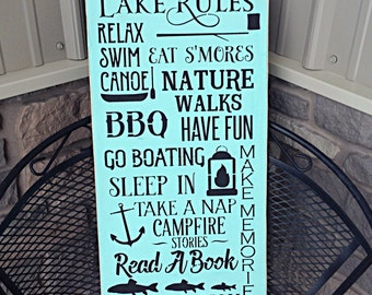 Lake sign, lake rules sign, lake house sign, primitive signs, primitive lake sign, rustic lake sign, lake house decor, lake rules, cottage