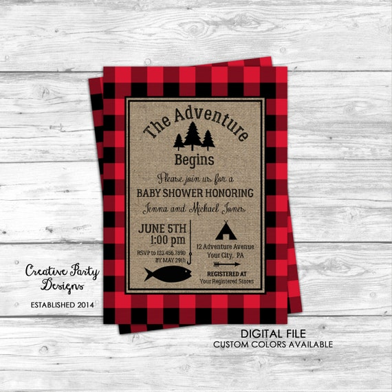 Baby shower invitation fishing baby shower invitation camping baby