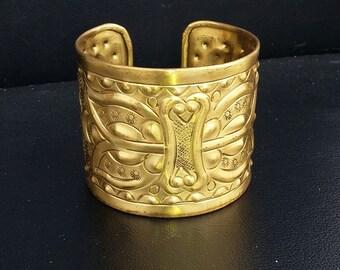 Hammered metal cuff vintage copper bracelet wide cuff