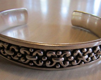"""Sterling Silver Cuff Bracelet with Lots of Design  6 7/8"""""""