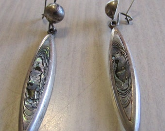 Sterling Silver and Abalone Dangle Earrings from Mexico