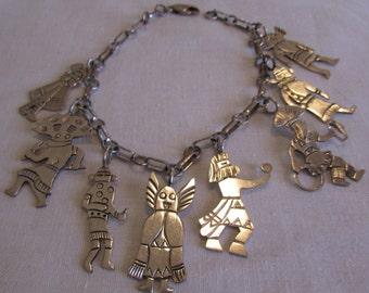 Navajo Sterling Silver Kachina and Dancer Charm Bracelet