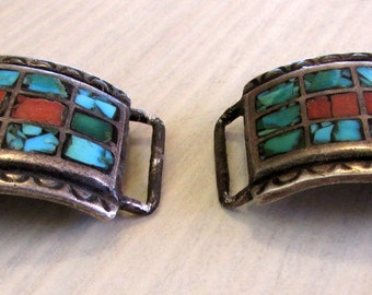 Sterling Silver Coral and Turquoise Mosaic Inlay Watch Tips