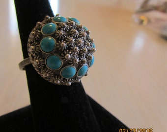 Sterling Silver and Faux Turquoise Adjustable Ring from Mexico