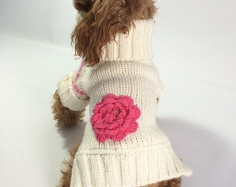 Upcycled XS Dog SWEATER With Pink Flower