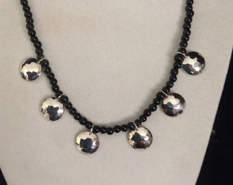 Hammered Sterling and Gemstone Necklace