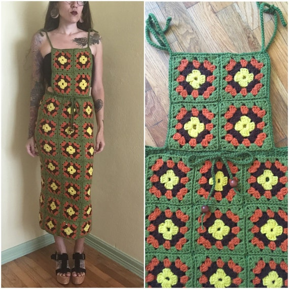 Vintage 70s crochet granny square upcycled AMAZING maxi coverall dress/gown small