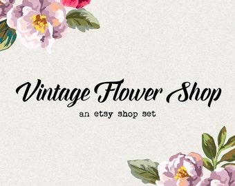 Premade etsy shop set etsy banner avatar vintage flower