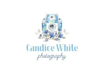 Photography Logo Camera Logo  Premade Logo  Flowers Logo  Floral Logo  Blue