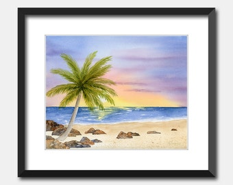 """Printable Watercolor Seascape Painting """"A New Day"""" Beach Palm Tree Instant Download Wall Art"""