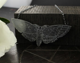 Butterfly necklace - Skull necklace - Moth necklace - Sterling silver necklace - Handmade