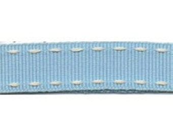 Berisford Stitched Grosgrain Ribbon in Sky Blue and Cream 15mm,  Crafting Supplies Decorations Gift Wrapping Hair Bows