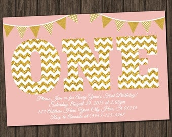 First Birthday Invitation - Blush Pink and Gold 1st Birthday Invitations