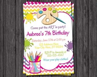 Art Birthday Invitation - Art Party Invitations