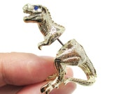 3D Realistic T-Rex Tyrannosaurus Dinosaur Shaped Animal Fake Gauge Plug Earrings in Shiny Gold | Unique Faux Ear Piercings