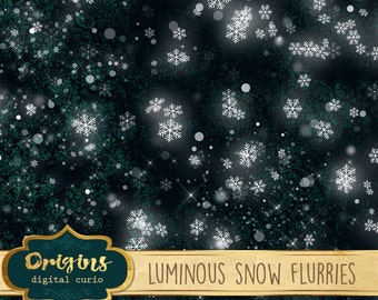 Luminous Snow Flurries, snow png photo photography digital overlays, snowflake clipart, winter christmas snow clip art instant download