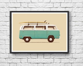 Art-Poster 50 x 70 cm - Van and surf